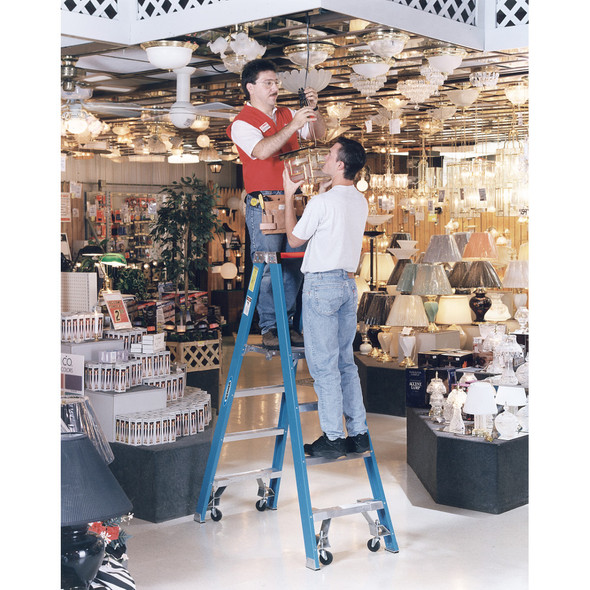 "Werner PT6000-4C Series"" Stockr's"" Fiberglass Ladder with CASTERS 