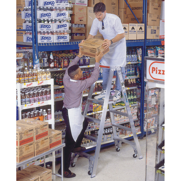 "Werner PT370 Series Aluminum ""Stockr's"" Ladder with CASTERS 300 lb Rated"
