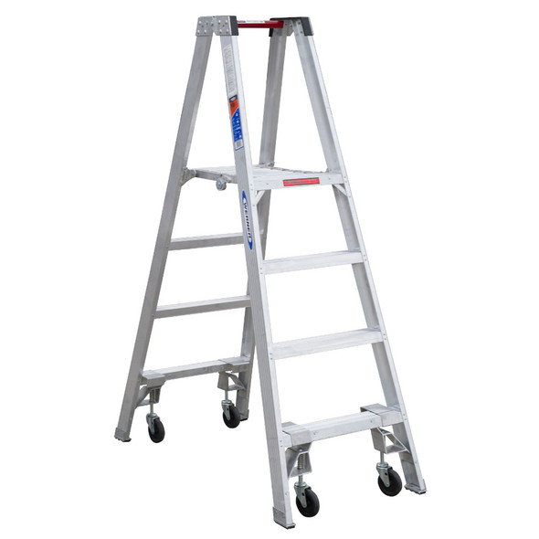 """Werner PT370 Series Aluminum """"Stockr's"""" Ladder with CASTERS 300 lb Rated"""