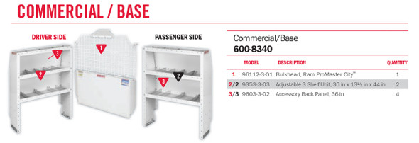 Weather Guard Model 600-8340 Commercial Shelving Van Package, RAM ProMaster City