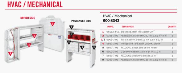 WeatherGuard Model 600-8343 HVAC/ Mech Van Package, RAM ProMaster City