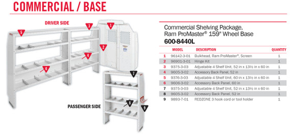"WeatherGuard Model 600-8440L Commercial Shelving Van Package, High-Roof, 159"" WB, RAM ProMaster"