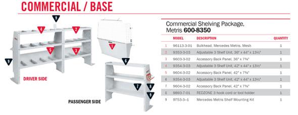 "Weather Guard Model 600-8350 Commercial Shelving Van Package, Mercedes Metris 126"""