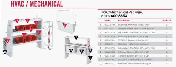 """Weather Guard Model 600-8353 HVAC/ Mech Van Package, Mercedes Metris 126"""""""