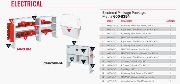 """Weather Guard Model 600-8354 Electrical Contractor Van Package, Mercedes Metris 126"""""""