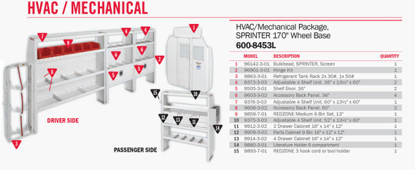 WeatherGuard Model 600-8453L HVAC/Mechanical Van Package, Sprinter, 170 WB
