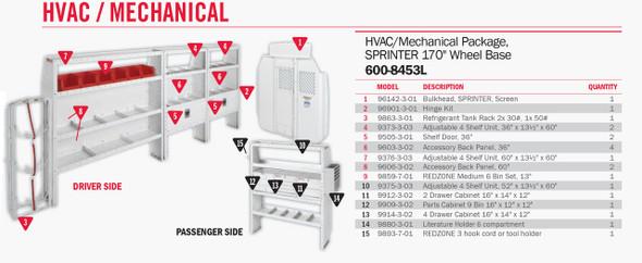 Weather Guard Model 600-8453L HVAC/Mechanical Van Package, Sprinter, 170 WB