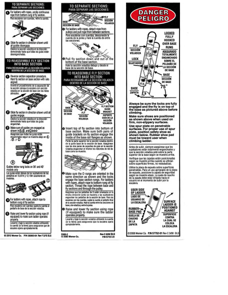 Werner Parts LAE100 Safety Labels - Aluminum Extension Ladders | ALUM EXT LDR LABEL REPL KIT