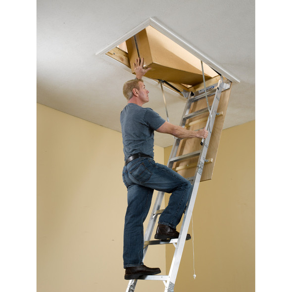 "Werner AH2512 High Ceiling Aluminum Attic Ladder | 25"" x 66"" Opening 
