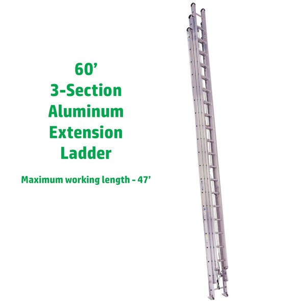 Werner 560-3 60' Aluminum Round Rung Extension Ladder 250 lb Rating