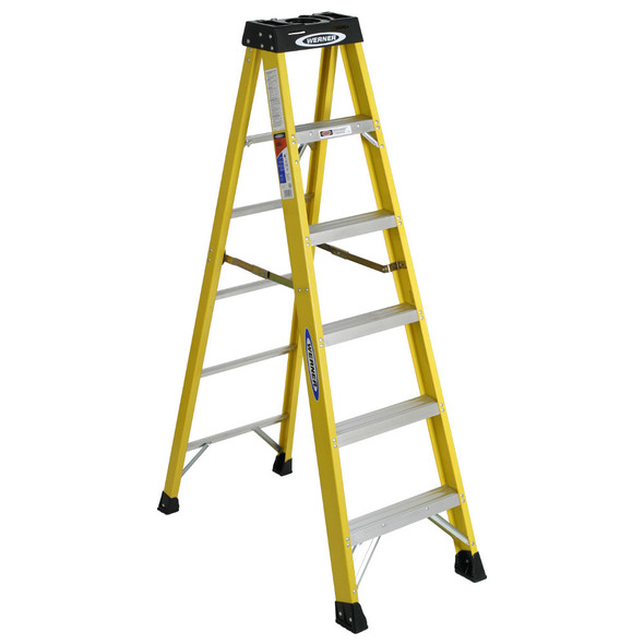 Werner 6100 Series Fiberglass Stepladder | 300 lb Rated