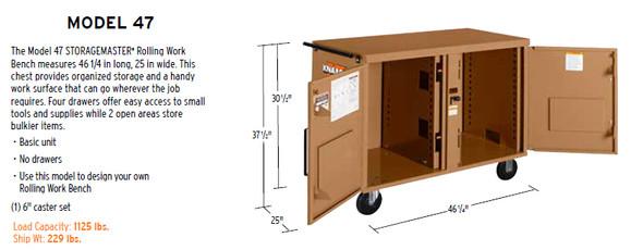 Knaack Model 47 STORAGEMASTER Rolling Work Bench, 1,000 lbs