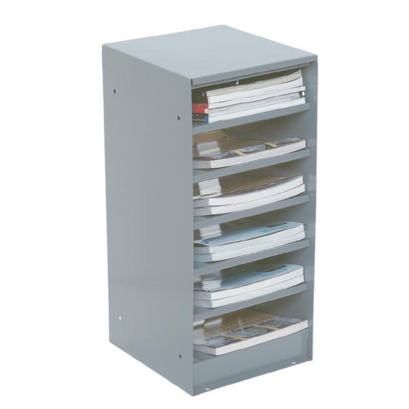 Adrian Steel #17A 6-Shelf Catalog File, 11w x 24h x 13.2d, Gray