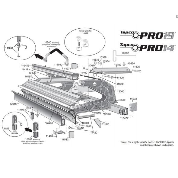 "Tapco Brake Part #11402 / Pro Handle Plug Kit (2) 1/4-20 x 1-1/2"" Flat Hd Screw (2) Lifting Handle Plug (2) 1/4-20 Nylock Hex Nut"""