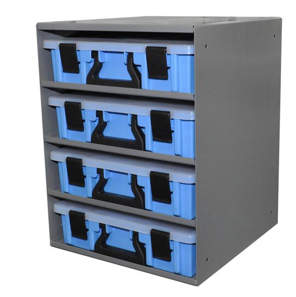 Adrian Steel CHPPC4S  4-Case Holder w/ Cases, Gray, Blue