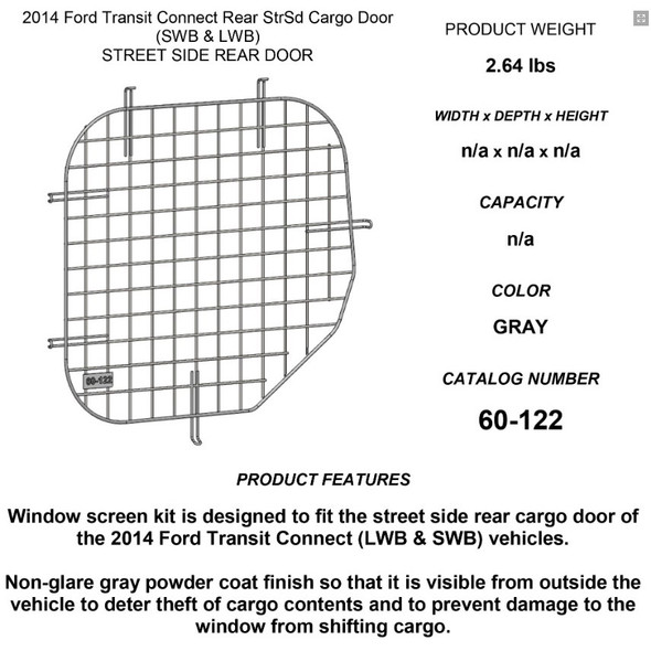Adrian Steel #60-122 Driver Side Rear Door Security Screen, 19.6w x 20.3h x 0.6d, Gray, Transit Connect
