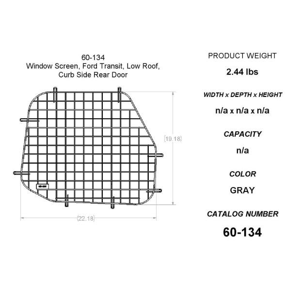 Adrian Steel #60-134 Passenger Side Rear Door Security Screen , 22.3w x 19.2h x 0.7d, Gray, Transit Low Roof