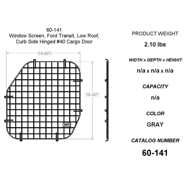 Adrian Steel #60-141 Passenger Side Door Security Screen, 40 Door, 18.5w x 19.5h x 1d, Gray, Transit Low Roof
