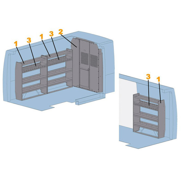 "Adrian Steel #4009S - Starter Package, Gray, Sprinter Low Roof, 144"""