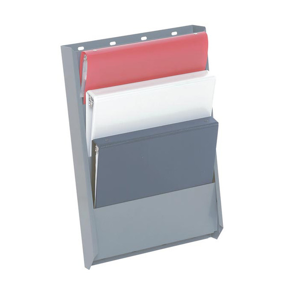 Adrian Steel #BH4 4-Slot Literature Rack, 12.8w x 19.5h x 2.5d, Gray