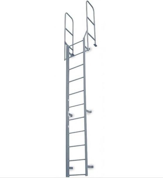 Cotterman - F8W Fixed Steel Wall Ladder w/ Walk Thru-Rail   1 Section   10 Ft 8 In