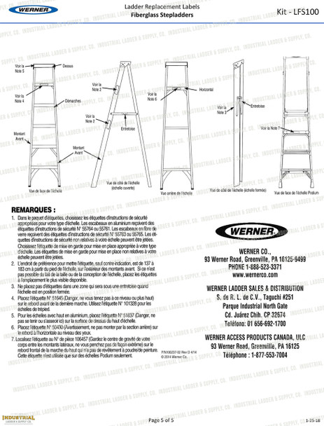 Werner LFS100 Safety Labels Fiberglass Step Ladders