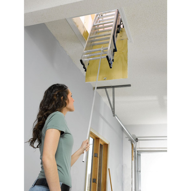 "Werner AA1510B - Aluminum Small Opening Attic Ladder | 7' to 9'10"" Ceiling Height 