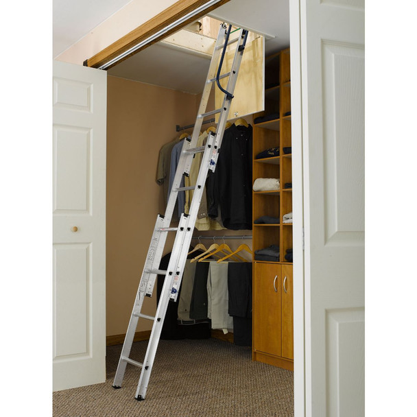 Werner AA1510B - Aluminum Small Opening Aluminum Attic Ladder | 250 lb Rating