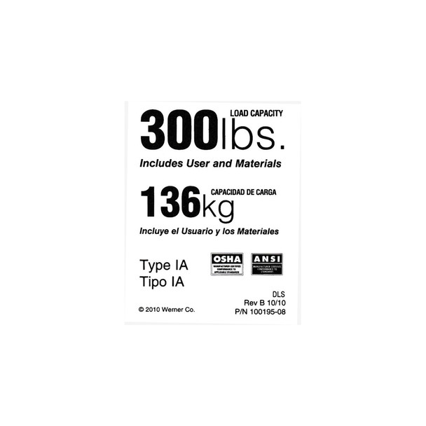 Werner LDR300 Duty Rating Label - 300 lb