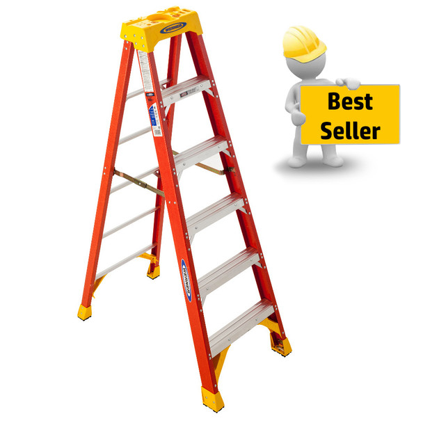 Werner 6200 Series Fiberglass Stepladder | 300 lb Rated
