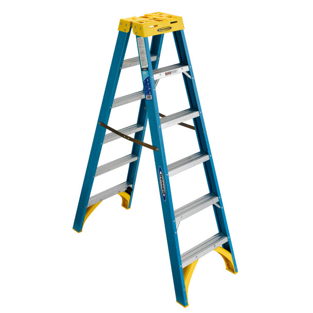 Werner T6000 Series Twin Sided Fiberglass Stepladder | 250 lb Rated