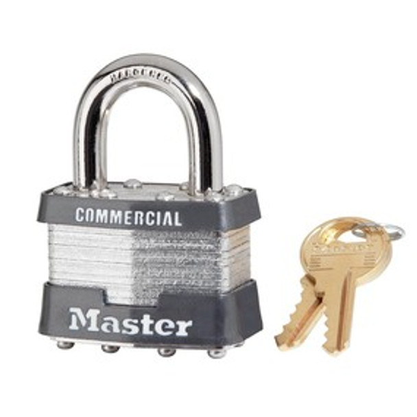 Master Lock 1KA 1-3/4in (44mm) Wide Laminated Steel Pin Tumbler Padlock, Keyed Alike