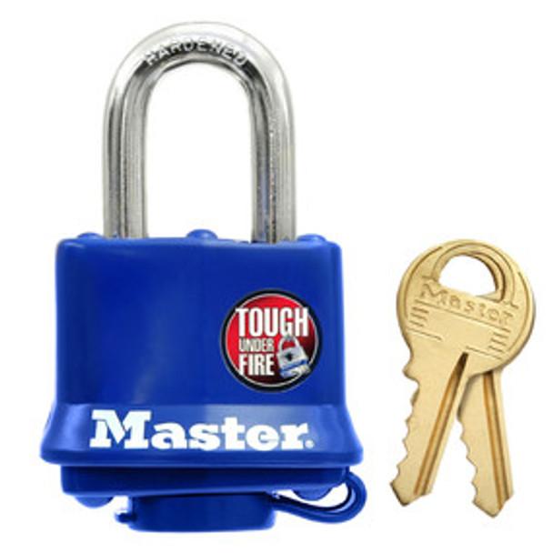 Master Lock 312KA 1-9/16in (40mm) Wide Covered Laminated Steel Pin Tumbler Padlock, Blue, Keyed Alike