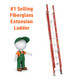 Werner D6200-2 Series Fiberglass Extension Ladder | 300 lb Rated