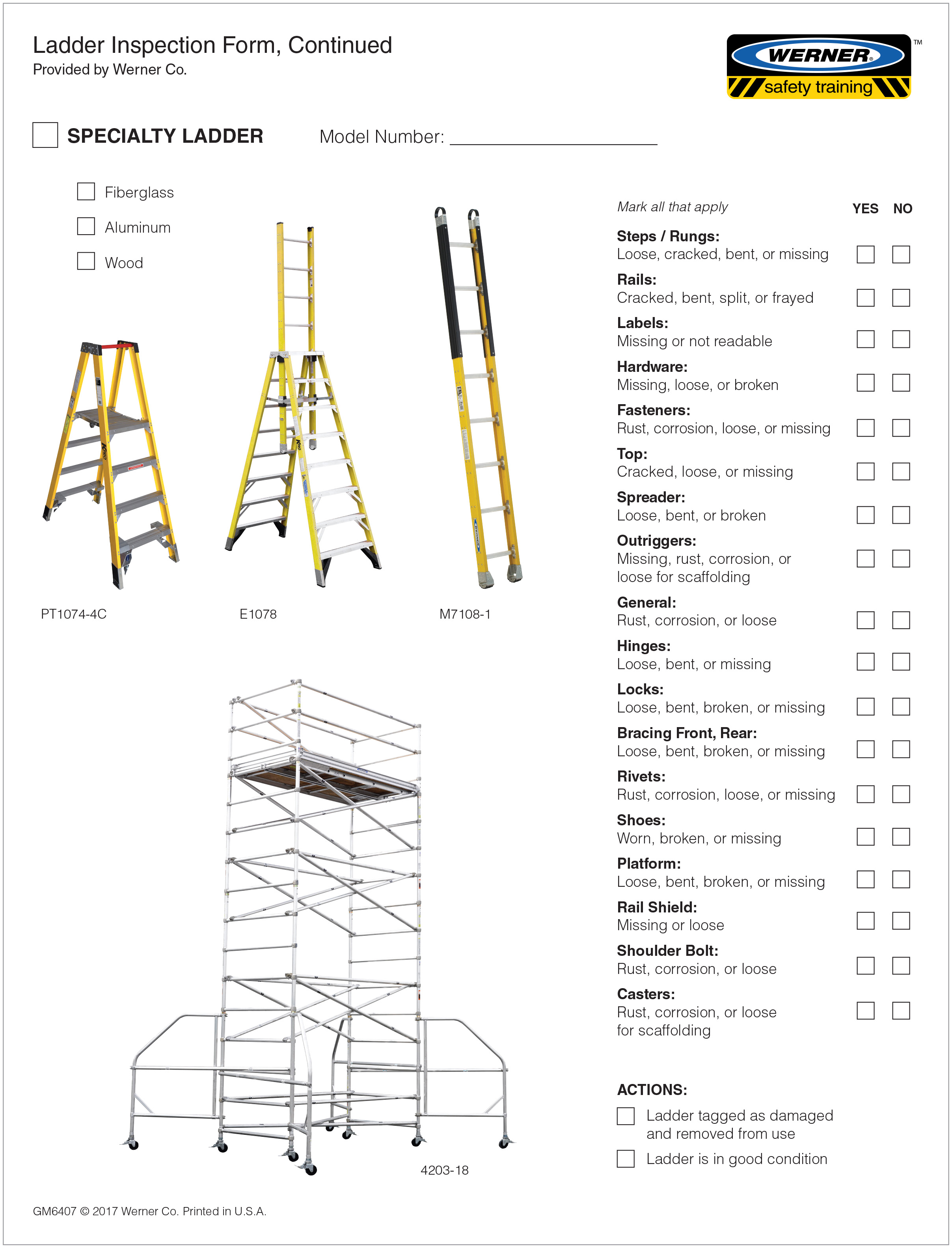 Ladder Safety Inspection Checklist Template Topsimages