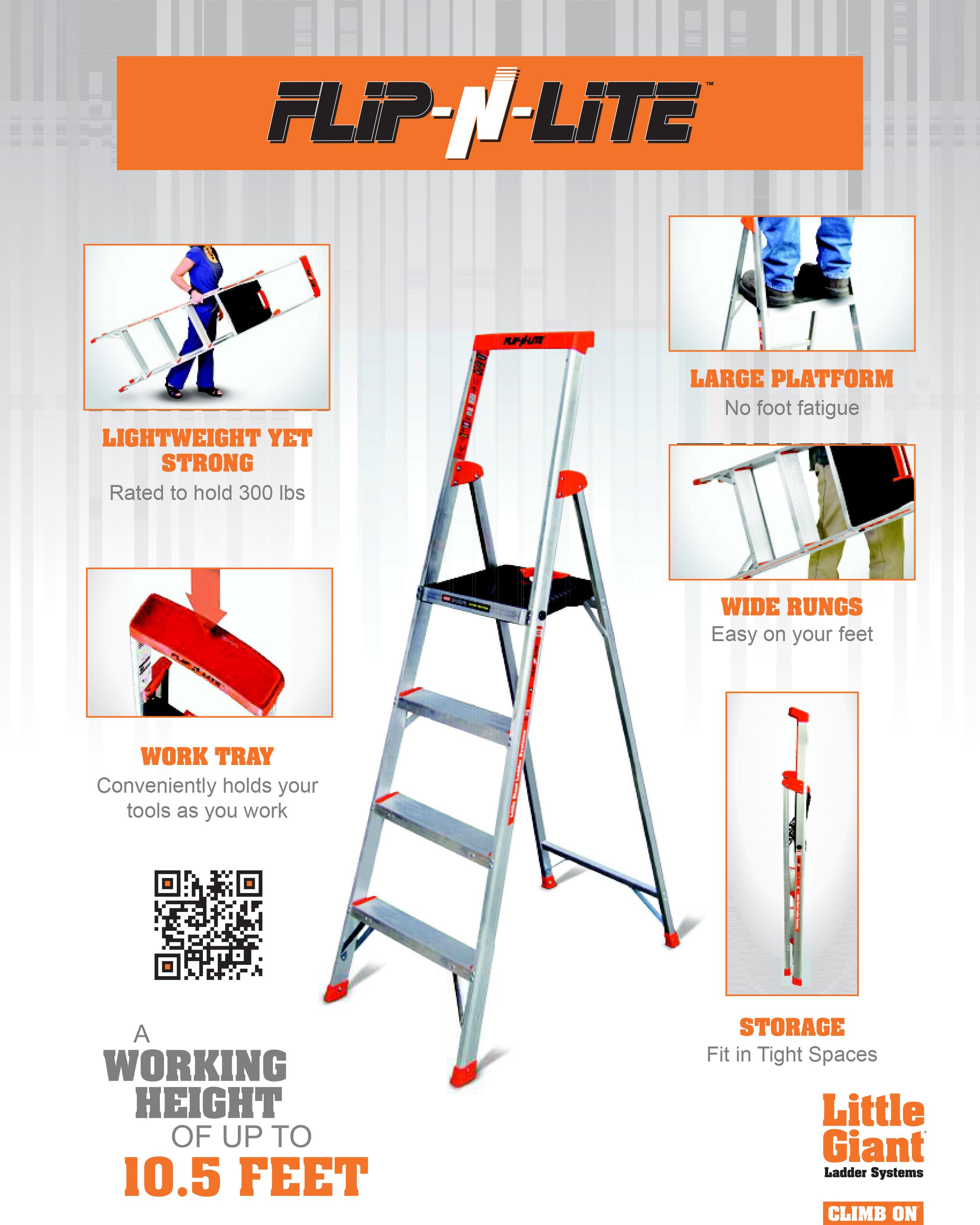 Little Giant Flip N Lite Aluminum Ultra Lightweight Stepladder Type Ia 300 Lb Duty Rating Industrial Ladder Supply Co Inc