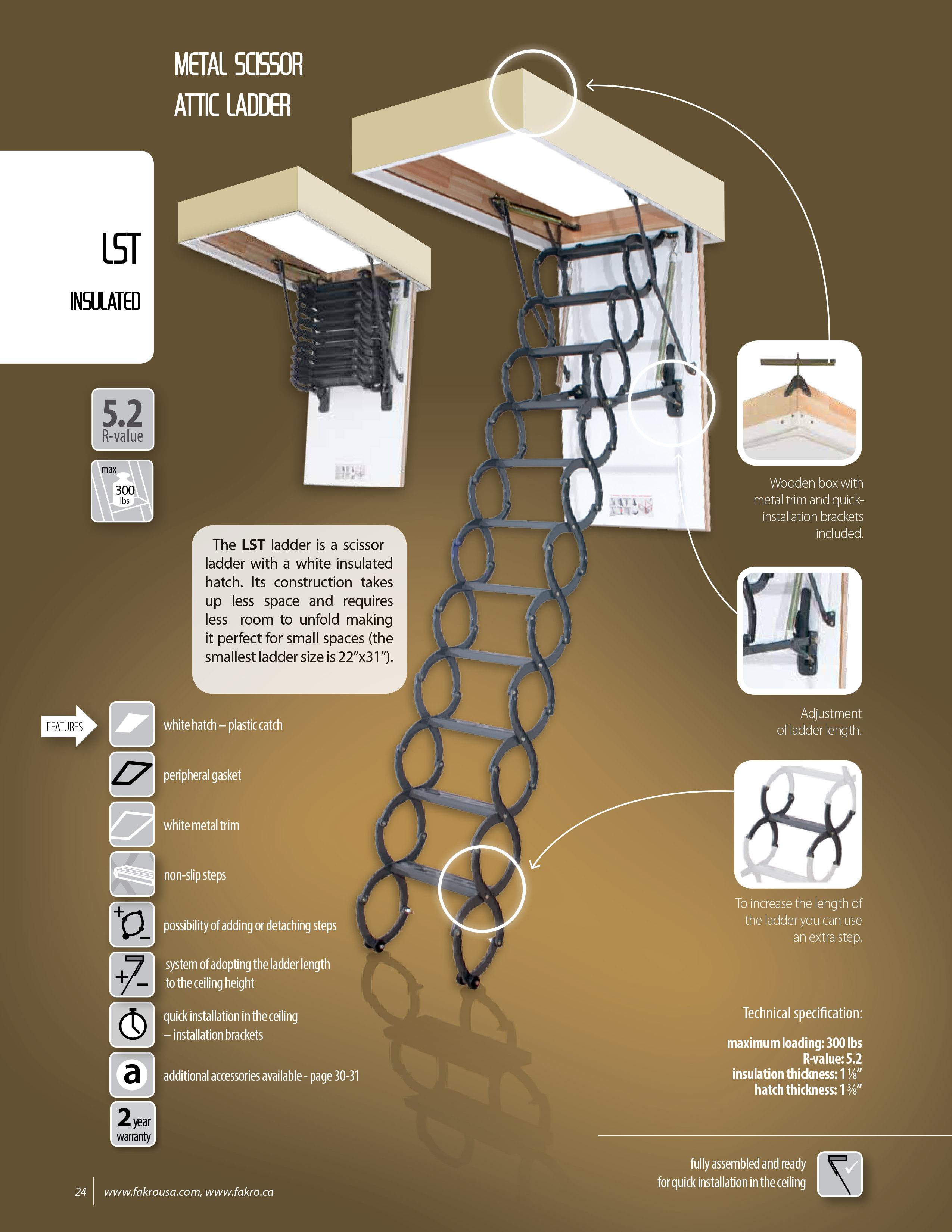 Fakro Lst Quot Insulated Quot Metal Scissor Attic Ladder 300 Lbs