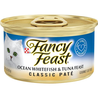 Purina Fancy Feast Grain Free Pate Wet Cat Food; Ocean Whitefish & Tuna Feast - 3 oz. Can