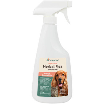 NaturVet Herbal Flea Spray with Essential Oils for Dogs and Cats, 16 oz Liquid, MADE IN THE USA