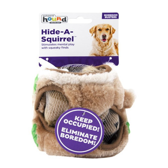 HIDE & SQUEAK FUN: Fill the Hide A Squirrel dog activity puzzle tree trunk with Squirrel stuffed dog toys and let your dog sniff, hunt and fetch them.