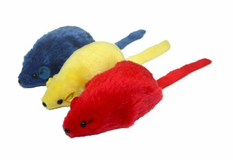The Big Mouse Cat toy comes in 3 assorted colors.