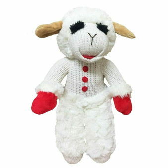 Lamb Chop is a plush white lamb with red paws.