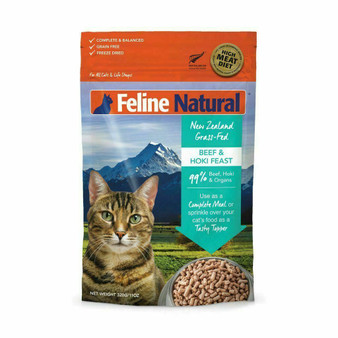 Feline Natural Beef and Hoki Feast Freeze Dried Cat Food 11 oz front view
