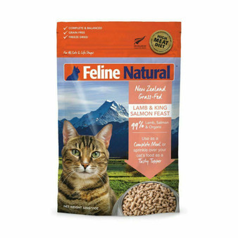 Feline Natural Lamb and Salmon Feast Freeze Dried Cat Food 11 oz front view
