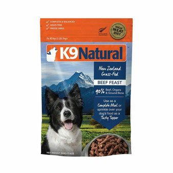 K9 Natural Beef Feast Freeze Dried Dog Food 17.6 oz front view
