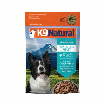 K9 Natural Hoki and Beef Feast Freeze Dried Dog Food 17.6 oz front view