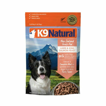 K9 Natural Lamb and King Salmon Feast Freeze Dried Dog Food 17.6 oz front view