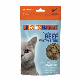 Feline Natural Beef Healthy Bites Freeze Dried Cat Treat 1.76 oz front view