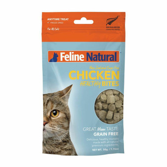 Feline Natural Chicken Healthy Bites Freeze Dried Cat Treat 1.76 oz front view