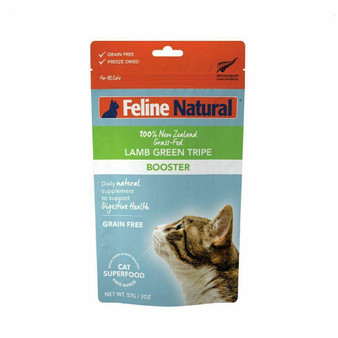 Feline Natural Lamb Green Tripe Booster Freeze Dried Cat Food Supplement 2 oz front view